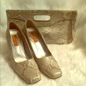 🌸New Listing Beautiful Snake Print Shoes/Clutch